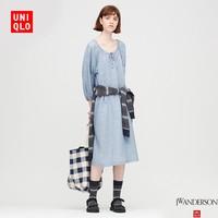 UNIQLO 优衣库 428521 女装 麻混纺条纹打褶连衣裙