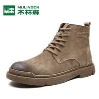 木林森马丁靴真皮男士高帮工装鞋英伦风中帮战狼短靴冬季加绒增高