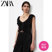 ZARA新款 TRF 女装 叠层装饰小打褶 T 恤 00219406800