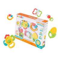 澳贝(AUBY)益智玩具放心煮摇铃5pcs高温消毒婴幼儿摇铃牙胶礼盒461516(新旧配色随机发货)