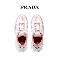 Prada/普拉达 粉白色织物拼接女士系带运动鞋