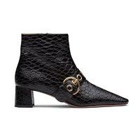 Prada/普拉达 黑色鳄鱼纹牛皮女士襻带方跟短靴