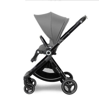 elittile 婴儿推车可坐可躺轻便折叠高景观婴儿车宝宝儿童双向手推车 布鲁灰
