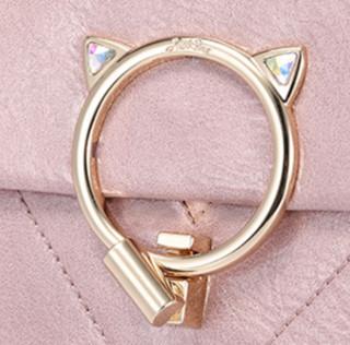 欧时纳(JUST STAR)包包女包时尚流行油蜡皮猫咪甜美链条斜挎包 290茱萸粉