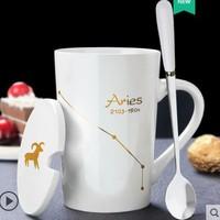 常珑 创意个性陶瓷马克杯带盖勺 白色款