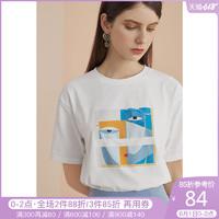 范思蓝恩纯棉短袖t恤女宽松韩版2020新款夏季ins洋气印花休闲体恤