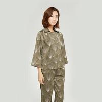 设计师款 女式深绿印花长袖套装