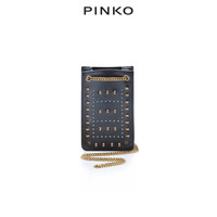 PINKO 奢侈品 女士黑色小号铆钉链条单肩手机包 1P21J4Y5W4 Z99