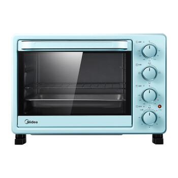 美的(Midea)PT2531 家用多功能电烤箱 25升 适用2~3人上下管独立温控 机械操作 复古蓝
