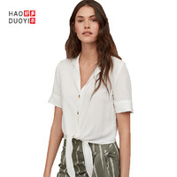 Haoduoyi XK22S50080 单排扣纯色短袖衬衫