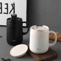 SIMELO(施美乐)保温杯304不锈钢水杯男女士情侣办公室保温咖啡杯马克杯460ml(黑色)
