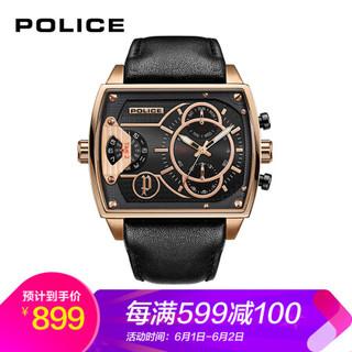 POLICE 手表 男学生方形石英表潮流运动男士手表 PL.14698JSR/02
