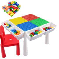 兔妈妈 儿童节专享礼物 大颗粒积木桌单椅+51大颗粒滑道+配件包
