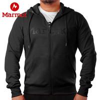 Marmot/土撥鼠20春夏新款戶外運動保暖舒適男士帶帽開衫衛衣夾克 曜石黑001 M 歐碼偏大