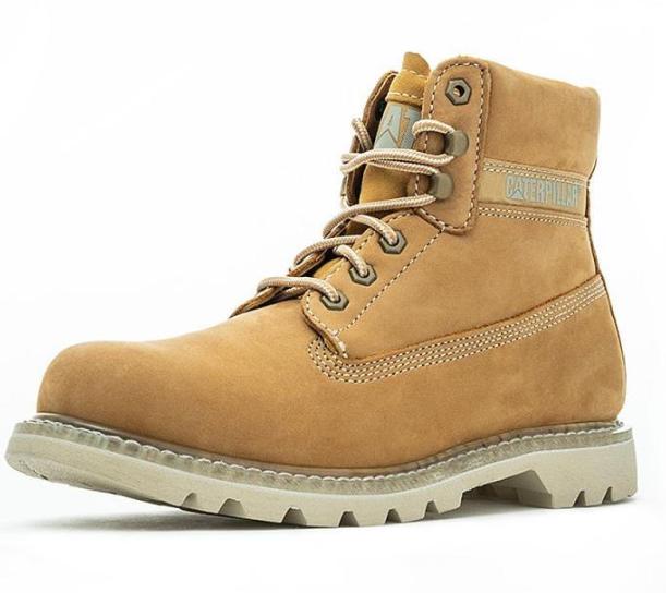 CAT 卡特彼勒 Colorado系列男士牛皮高帮系带马丁靴P723531I3BDC25 黄色41