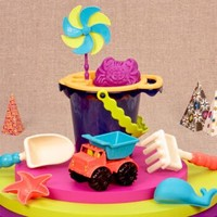 比乐B.Toys玩水玩沙玩具户外沙滩玩具车男孩女孩宝宝儿童夏日挖沙玩水风车18个月+中桶沙滩玩具套装 海军蓝 *3件