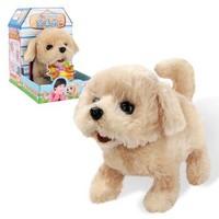 乐吉儿 儿童电动毛绒玩具狗 会走路会叫的狗狗 仿真宠物狗电动玩具狗 金毛犬Q007