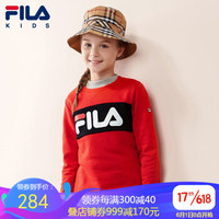 FILA斐乐童装官网女童卫衣2020春季新款儿童卫衣女圆领套头上衣潮 火红-RD 150cm