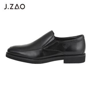 京东京造 皮鞋男一脚蹬套脚商务正装鞋简约方头 头层牛皮 黑色 40