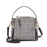 克路驰(CLUCI)单肩包女包新款时尚百搭手提斜挎女士包包CLJD1191652米色格纹