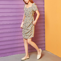 七格格 碎花连衣裙女夏2020新款法式复古修身小众洋气小个子短裙潮