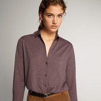 Massimo Dutti 06828561727 女士简约口袋缀扣休闲衬衫