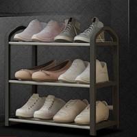 茉写 多层防尘鞋简易不锈钢鞋柜 三层黑色小号 40CM