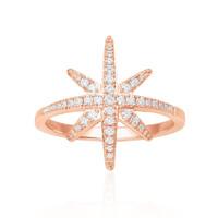 apm MONACO 粉金色纯银镶晶钻戒指