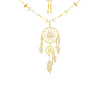 apm MONACO 黄金色银镶晶钻捕梦者复古时尚女款项链 AC4043OXY