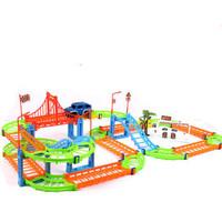 小火车玩具套装立体轨道车儿童汽车玩具男女孩生日礼物 彩色标配一个小汽车