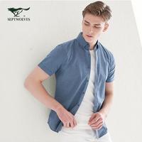 七匹狼短袖休闲衬衫男士2020春夏季新款中青年纯色休闲衬衣男装潮 *3件