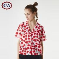 C&A甜美小雏菊短款古巴领短袖衬衫女士2020新夏季CA200229471-R0