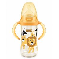 NUK自然实感宽口径PPSU婴儿奶瓶 新生儿带手柄奶瓶配防胀气硅胶奶嘴(6个月以上)300ML(狮子款) *2件
