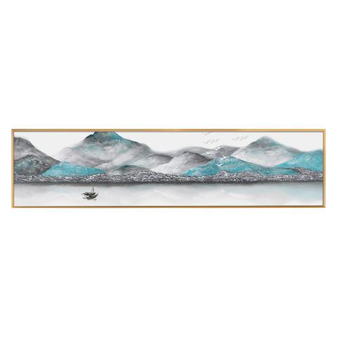 新中式床头装饰画卧室挂画北欧温馨客厅抽象横幅沙发背景墙壁画 *3件