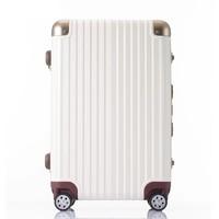 OCCA新款纯PC旅行箱女铝镁合金包角拉杆箱万向轮奶咖色行李箱子 奶咖 25英寸现货