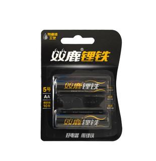 双鹿5号锂铁电池AA FR6 FR14505锂电池1.5V电子锁密码锁智能门锁指纹锁电池五号2节无汞防漏液强电量包邮