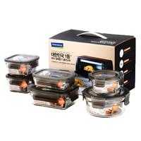 Glasslock韩国进口钢化玻璃保鲜盒耐热玻璃碗微波炉烤箱专用密封饭盒6件套  GL2111