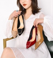 Luiza Barcelos 女士漆皮金属扣羊皮垫底鞋/高跟鞋