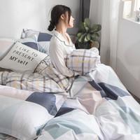 南极人四件套纯棉床上用品全棉床品套件1.8m床单被套三件套 方格风韵 *3件
