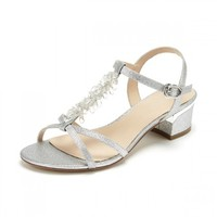 达芙妮夏新品甜美水钻T字带粗跟女凉鞋