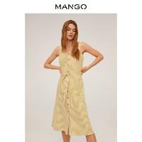 MANGO 67014404 亚麻混纺迷笛款系扣中筒连衣裙