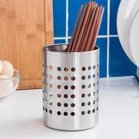 欧润哲 筷子筒 不锈钢直筒型餐具收纳筒沥水置物筷子架 *10件