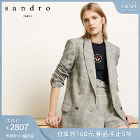 sandro2020春夏新款女装英伦风格纹西装外套SFPVE00356