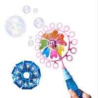 萌趣电光灯光音乐电动全自动网红吹泡泡水棒补充液儿童户外戏水玩具 风车泡泡棒
