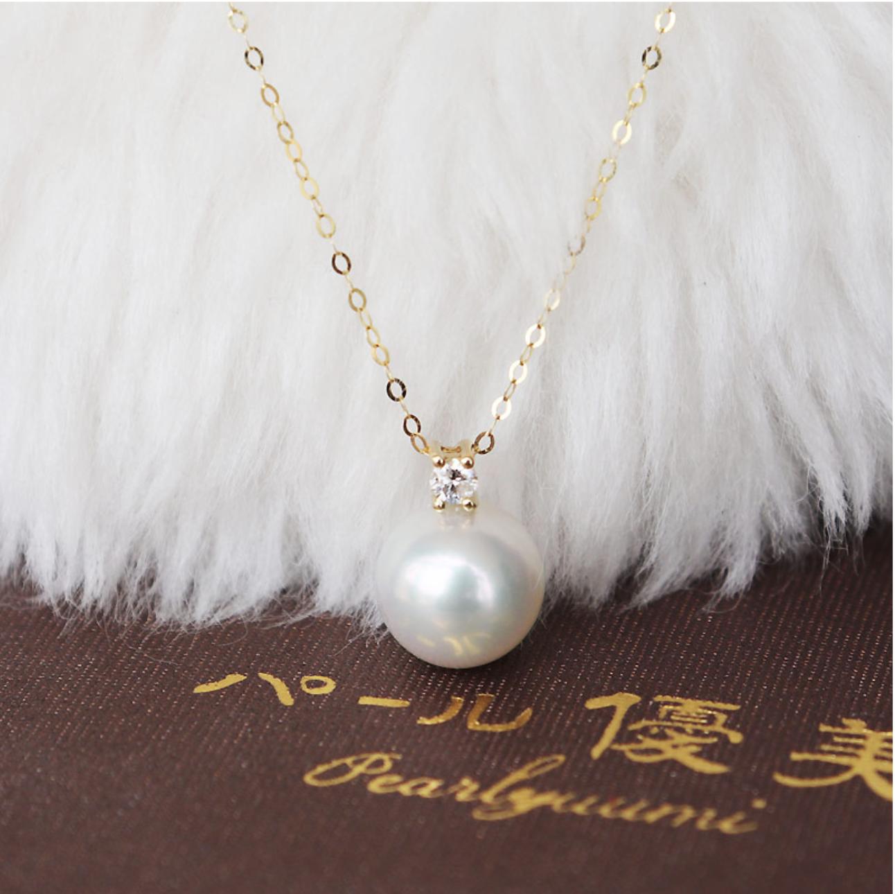 PearlYuumi Akoya珍珠1粒钻石项链18K金