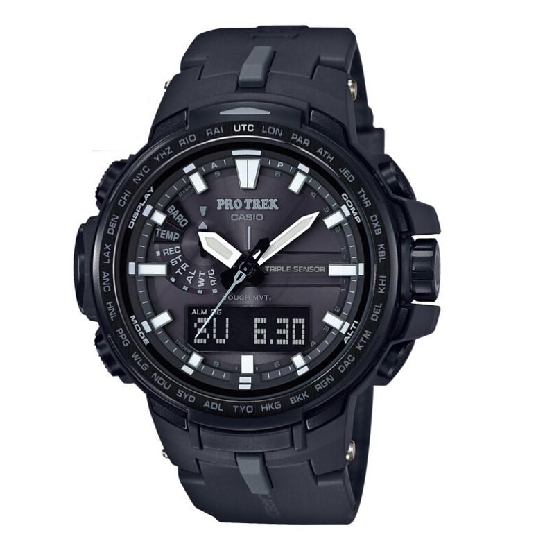 CASIO 卡西欧 PROTREK系列 PRW-6100Y-1B 男士太阳能机芯手表 51.6mm 黑色 黑色 碳纤维/钛金属/复合材料