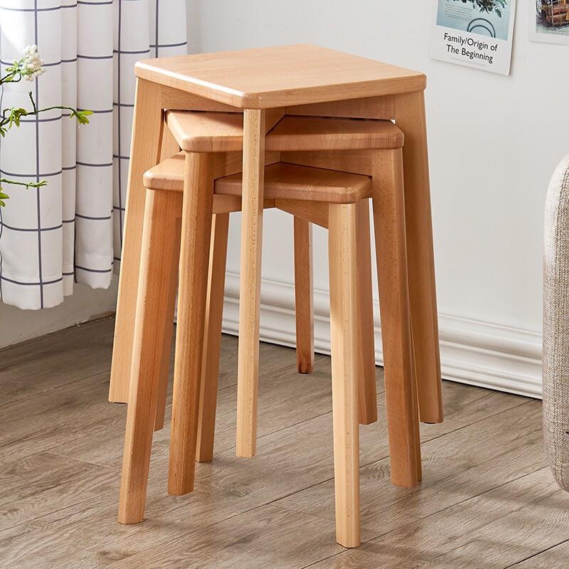 家逸小凳子板凳梳妆凳成人化妆凳时尚创意方凳餐桌凳 原木色方凳--1件