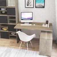 好事达 转角书桌 带门柜电脑桌 办公桌(胡桃木色)莱恩2330 *3件