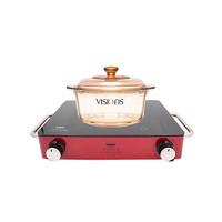 美国VISIONS 康宁电陶炉锅具套组 (2.2L晶钻锅+绚丽红双旋钮电陶炉)