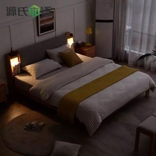 源氏木语 Y90B08 实木软包夜读双人床 布面1.2m